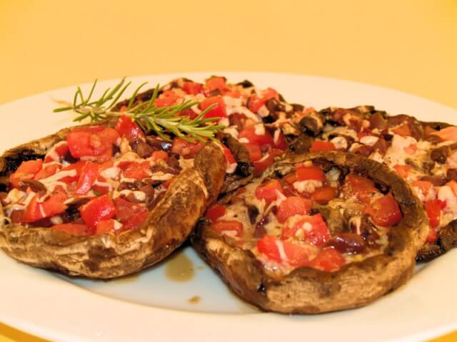 Tomato & Olive-Stuffed Portobello Caps Recipe from CDKitchen