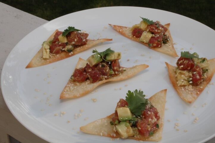 Ahi Tuna Tartare on Sesame Wonton Crisps Recipe