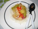 Picture of Fresh Pineapple and Chicken, served with long grain white rice.