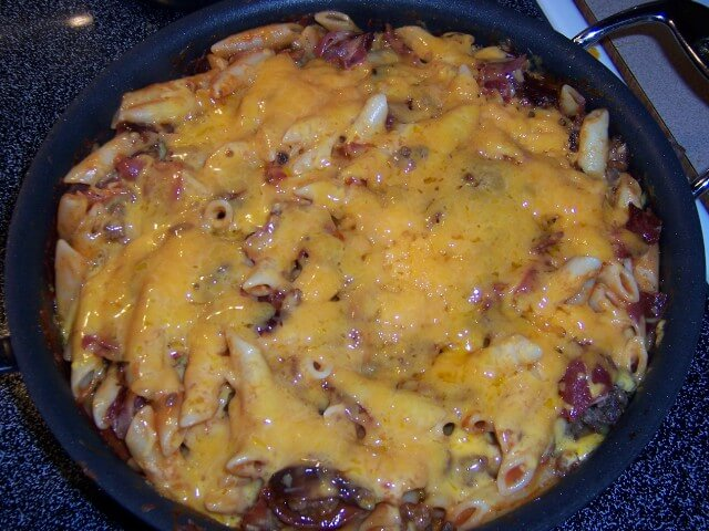 Bacon Cheeseburger Pasta Recipe from CDKitchen