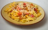 Bucatini Amatrice-Style made with Penne Mezzo pasta instead.