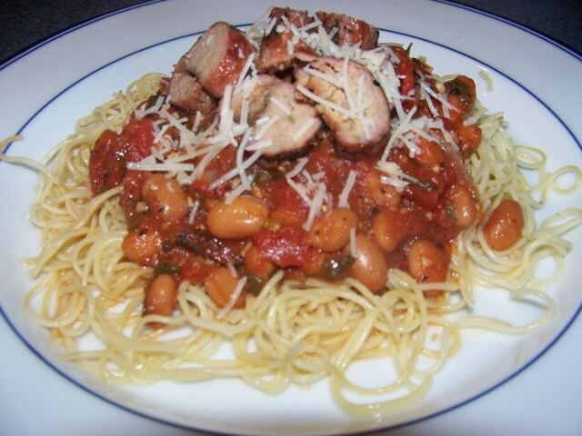 Grilled Turkey Sausage Pasta with Tomatoes and Cannellini Beans Recipe ...