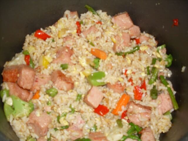 Spam Fried Rice Recipe from CDKitchen