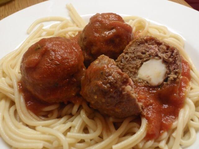 Cheese Stuffed Meatballs And Spaghetti Recipe from CDKitchen