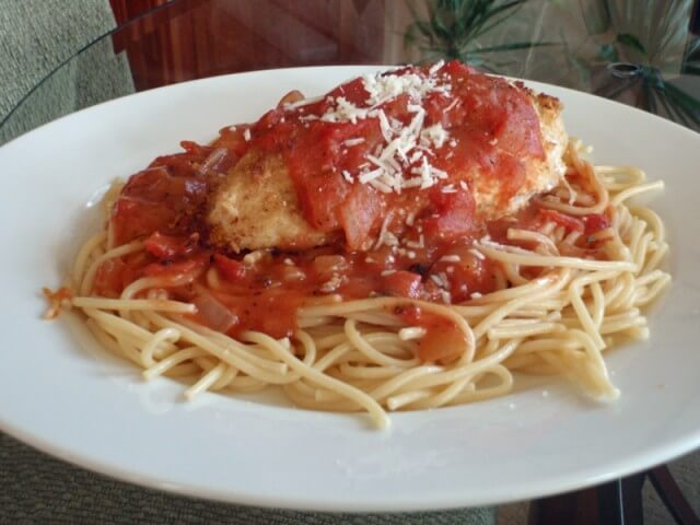 Chicken Parmesan With Creamy Tomato Pasta Recipe from CDKitchen