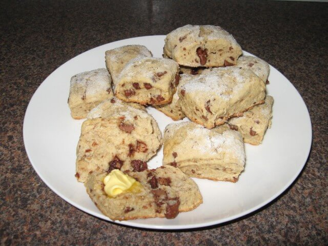 Chocolate Chip Banana Scones Recipe from CDKitchen