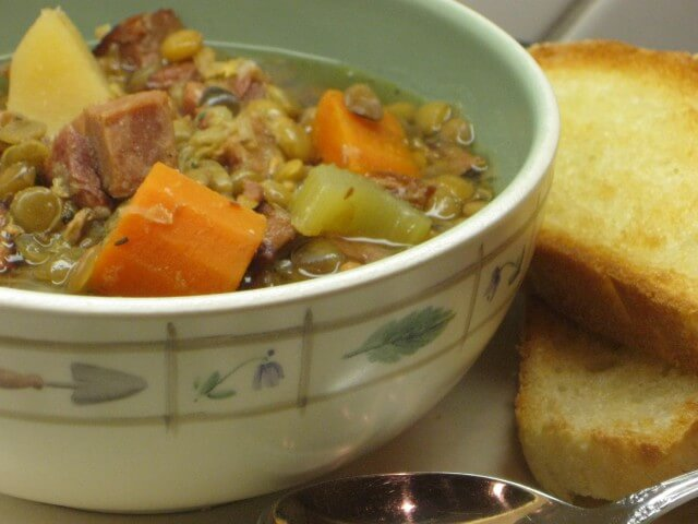 Crock Pot Lentil And Canadian Bacon Soup Recipe From
