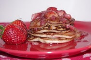 Photo of Strawberry Almond Pancakes With Strawberry Syrup Recipe on CDKitchen