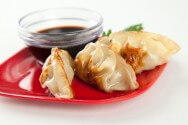 Chicken and Shrimp Dumplings with Soy Dipping Sauce