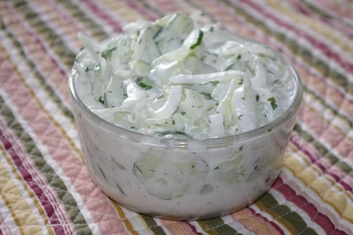 Dilled Sour Cream Cucumber And Onion Salad Recipe | CDKitchen.com