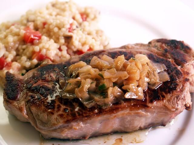 Grilled Steaks With Caramelized Shallot Butter Sauce Recipe ...
