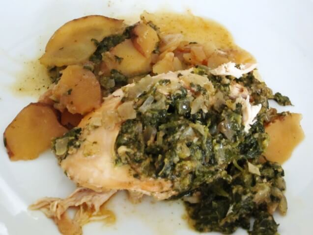 Spinach and Pesto-Stuffed Chicken Breasts with Red Potatoes