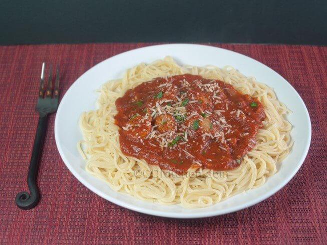 Crock Pot Italian Sausage Pasta Sauce with Spaghetti Recipe from ...