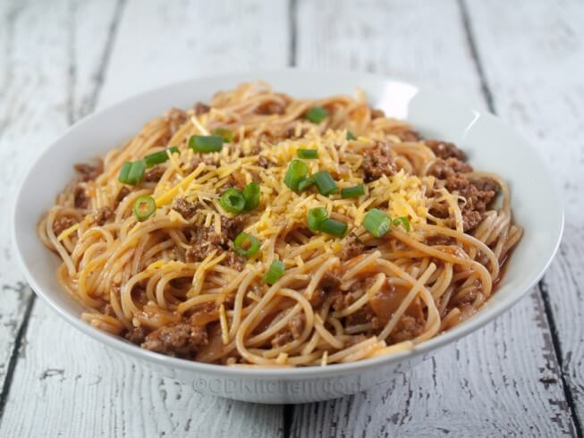 Crock Pot Chili Spaghetti