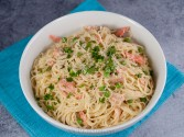 Photo of Salmon in Cream Sauce over Pasta