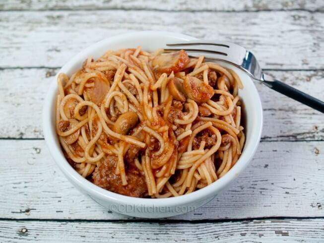 pasta onion garlic tomato sauce mushrooms tomato sauce and v8 juice