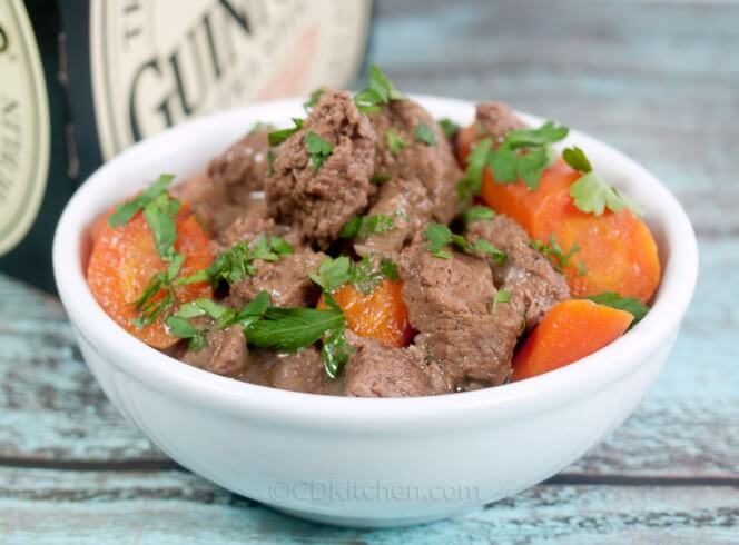 Beef stew meat is slowly cooked in the oven along with carrots, onion ...