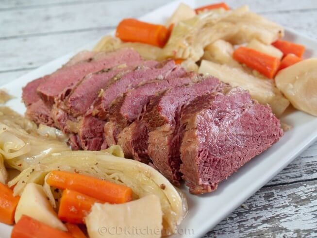 Flat cut corned beef brisket is simmered in Guinness with seasonings ...
