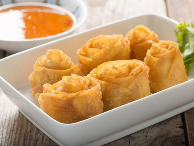 Bacon-Shrimp Spring Rolls With Pineapple Dipping Sauce