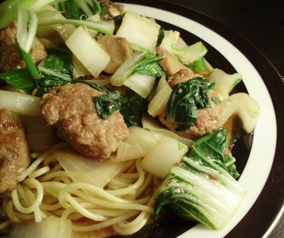 recipe for asian turkey meatballs with bok choy