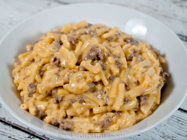 recipe for easy cheesy beef mac