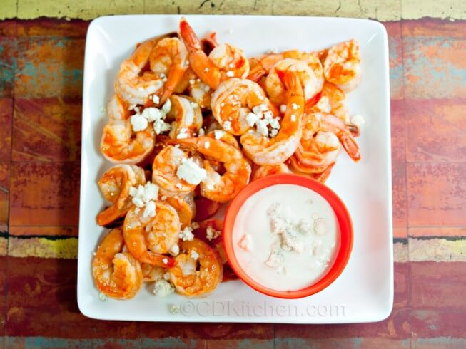 recipe for buffalo shrimp with blue cheese dip