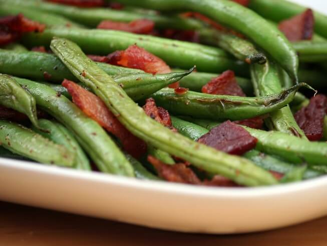 recipe for green beans with bacon, shallots and cider vinegar
