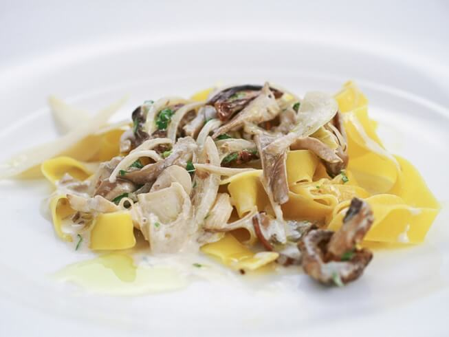 recipe for pasta with white mushroom sauce